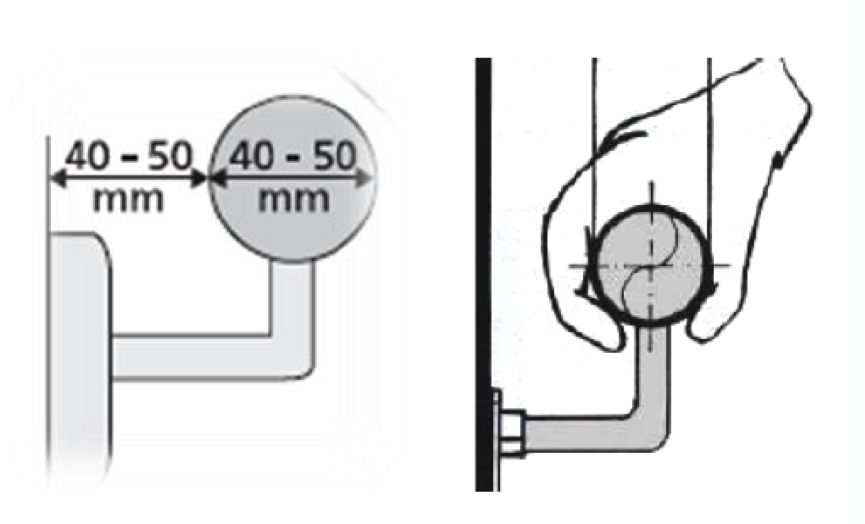 A sketch of the measurements of a handrail for best grip.