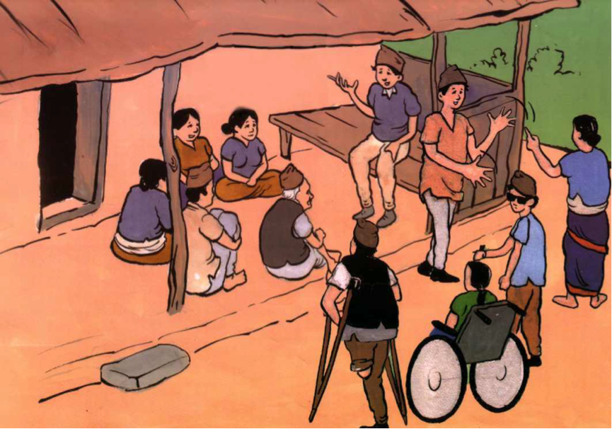 A meeting taking place outside a house where people with and without disabilities participate