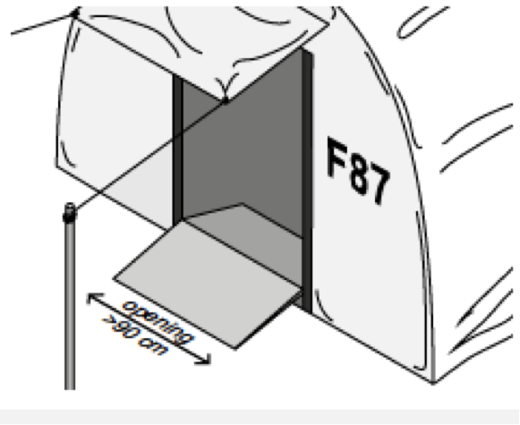 The entrance to a tent with details on entrance size, contrast colour for door and small ramp over threshold