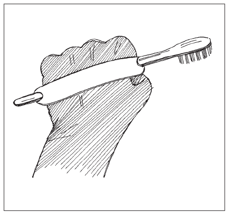A cuff or strap around a hand used to hold a toothbrush