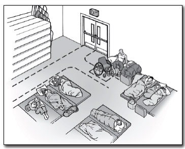 Sleeping area where one space is designed for a wheelchair user