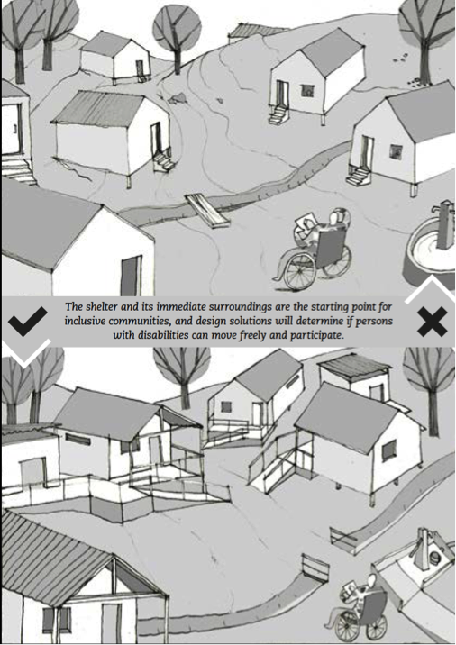 "Scene showing a first shelter site with several barriers and below another scene showing the same site with barriers removed or adapted. On the picture it reads: ""The shelter and its immediate surroundings are the starting point for inclusive communities, and design solutions will determine if persons with disabilities can move freely and participate"""
