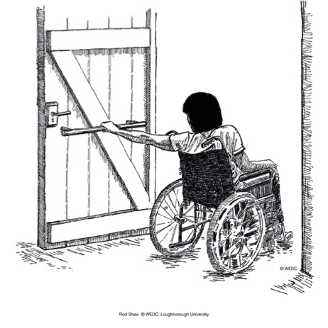 Wheelchair user passing a door and using handrail to close.