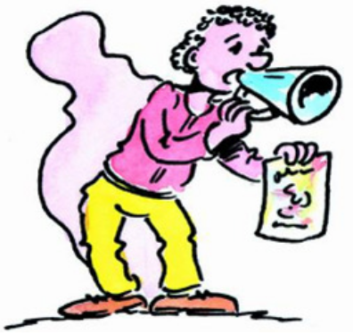 Person using a megaphone and showing written information on a paper