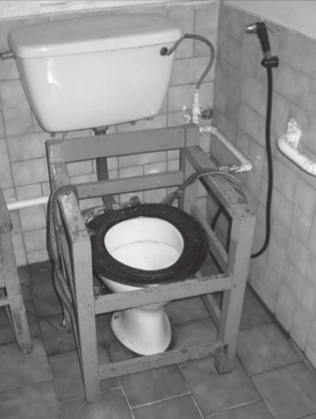 Locally made wood frame around pedestal toilet seat