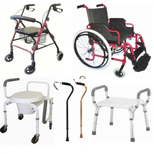 Different types of of assistive devices, such as walker, wheelchair, canes and moveable toilet seat