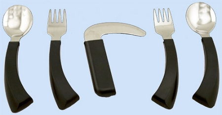 Food ustensils (spoon, fork and knives) with friendly grip