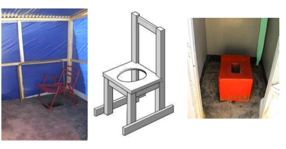 Three different types of latrine adaptation. A plastic chair with a hole above the pit, a wooden chair with a hole, and a concrete commode made as a raised seat over a pitlatrine