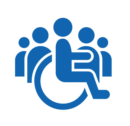 Sign of a wheelchair user in front of group of people