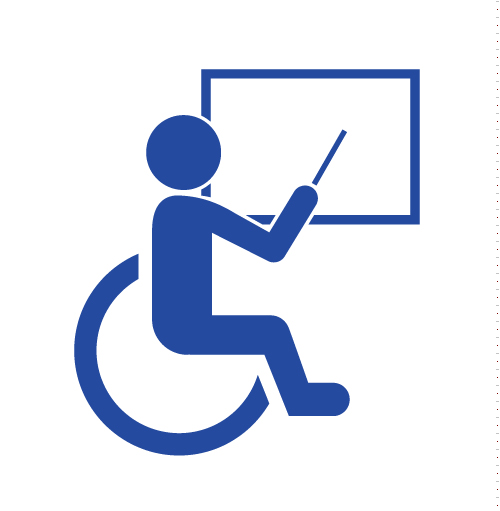 Sign of a wheelchair user in front og a screen