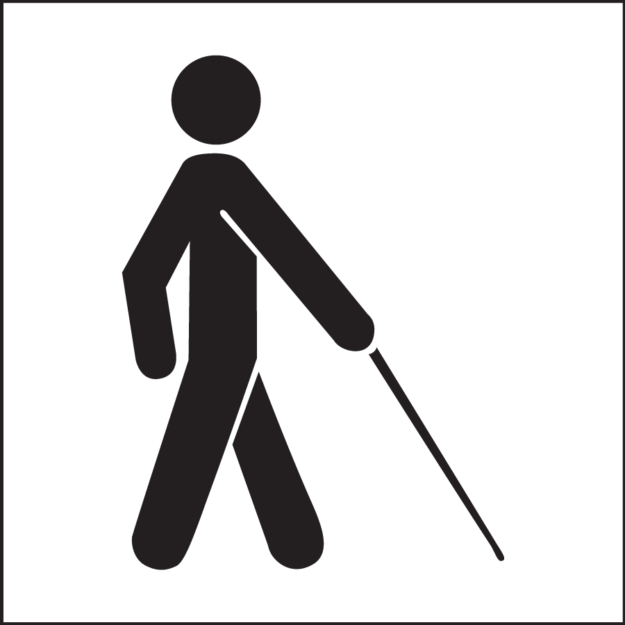 Sign of a person walking with a cane