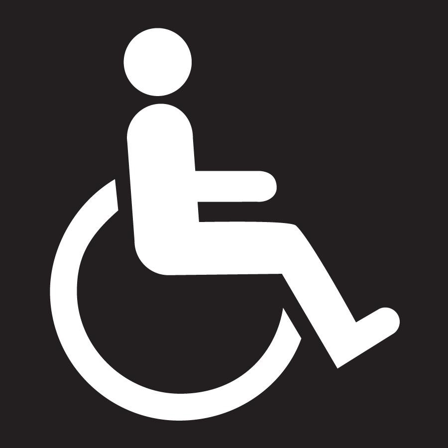 Sign of a white wheelchair user on a black background