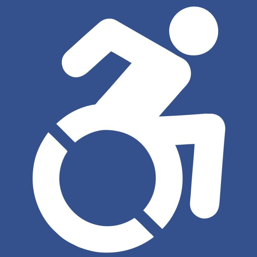 Sign of a white active wheelchair user on a blue background
