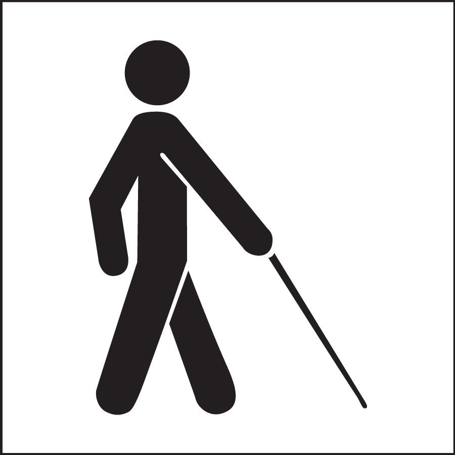 Sign of a person walking with a cane.