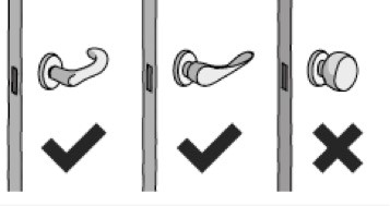 Different types of door handles, indicating that cylindrical handle should not be used