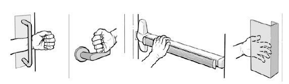 "Four examples of door handles. A ""D"" pull handle, a turn handle, a push handle and a pull handle"