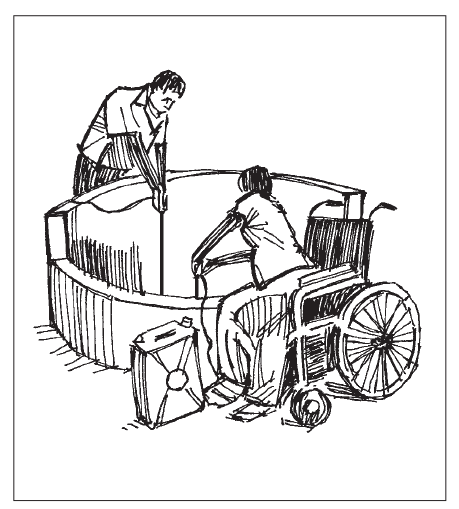 A person without disabilities and a person in a wheelchair are pulling water from an open well.
